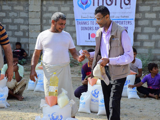 50 food aid baskets delivered to families in Hajjah funded by Mona Relief