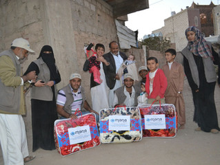 Delivering blankets, food aid baskets and clothes to IDPs in San'a