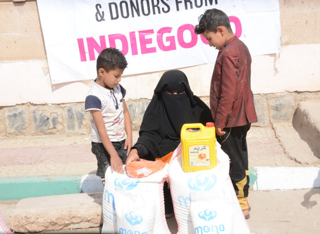 50 families in Sana'a received food aid packages from Mona Relief