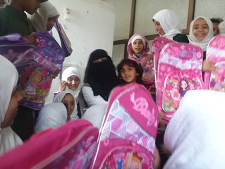 120 students in the capital Sana'a received school backpacks funded by Mona Relief