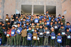 450 students received school backpacks from Mona Relief in Sana'a