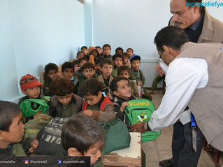 Mona Relief delivers 200 students in Wadi Ahmed area school backs funded by Kuwaiti donor and the NG
