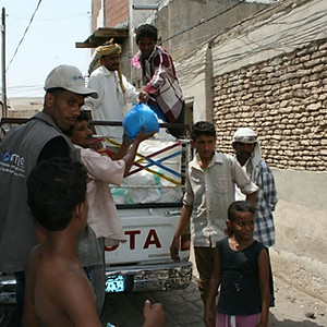 Food aid baskets delivered by Mona relief to families in Hodeidah