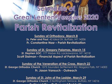 CANCELED!!! Pan-Orthodox Lenten Vespers 2020