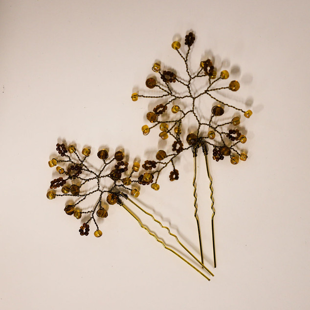 1 Pyracantha Hair pIns on white side by