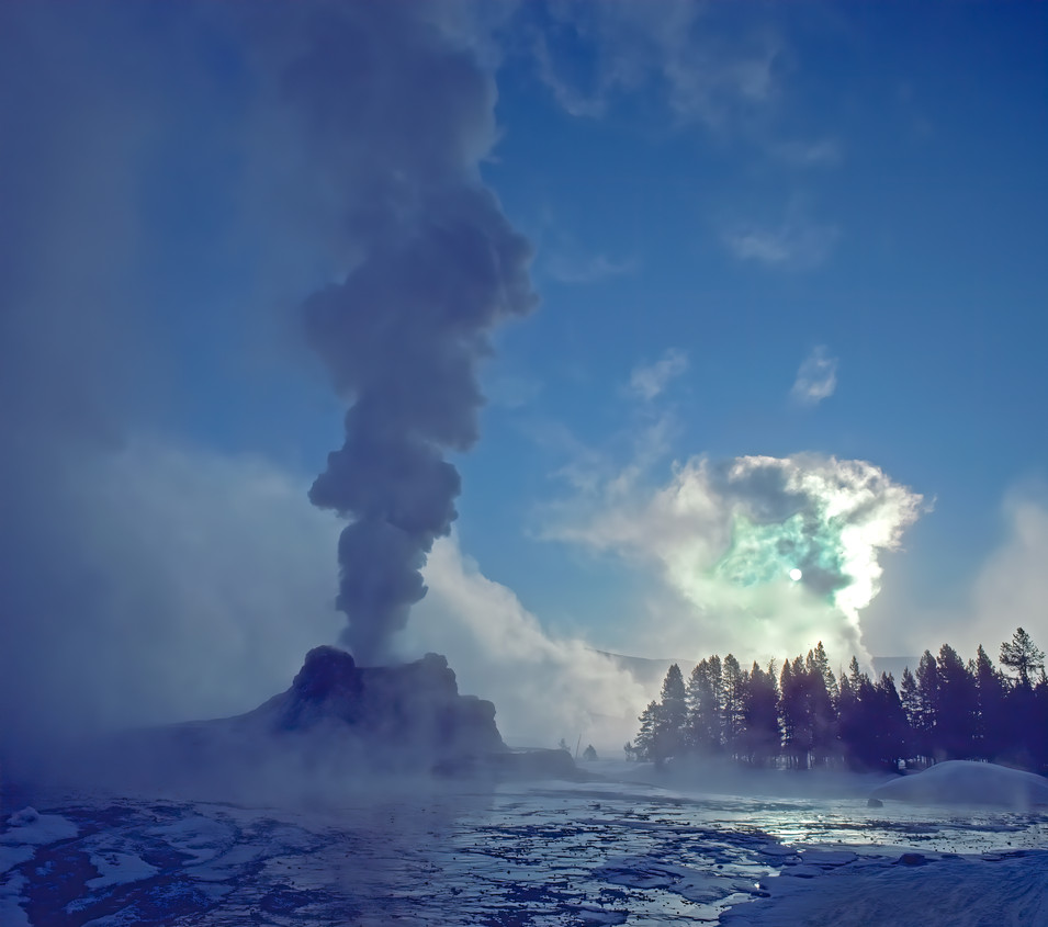 Castle Geyser at -20 °F, Wyoming
