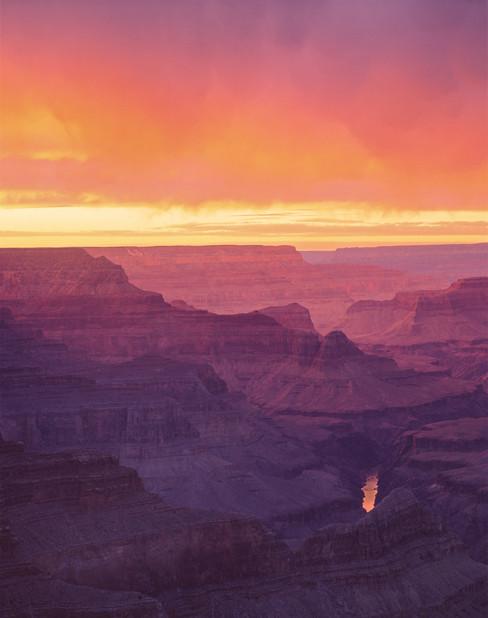 Orange & Stormy Sunset at Grand Canyon, Arizona