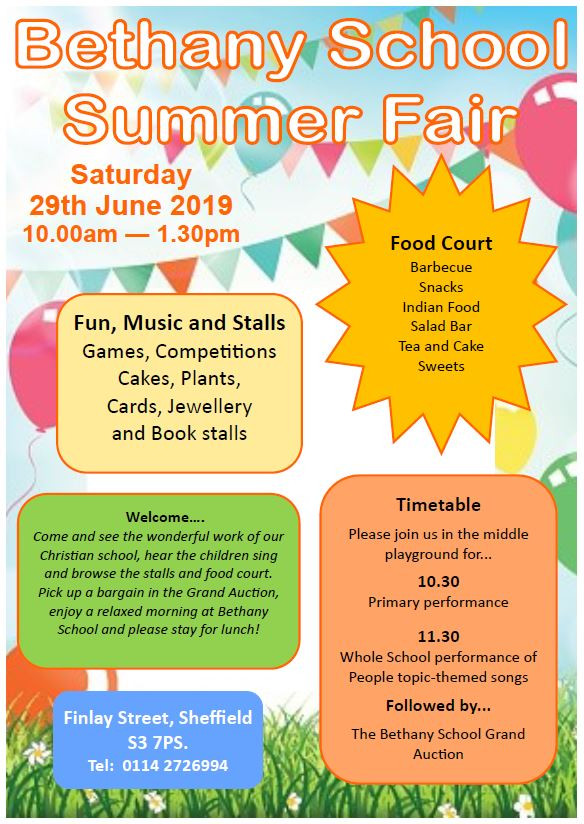 Come and join us for our annual summer fair. Come and see the work of the children and stay for coffee and a bite to eat.