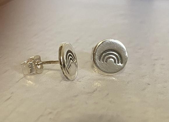 Rainbow stamped stud earrings