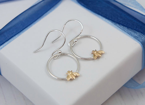Busy bee hoop earrings