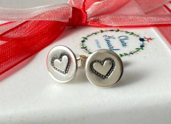 Lacy heart stud earrings