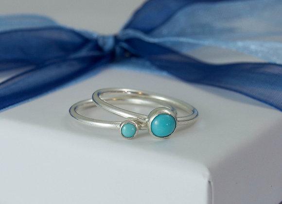 Turquoise skinny stacking ring set