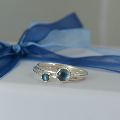 London Blue Topaz skinny stacking rings
