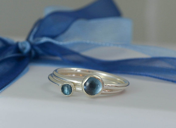 London Blue Topaz skinny stacking rings