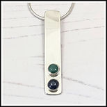emerald and sapphire bar necklace