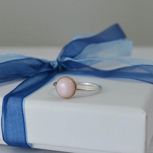Gold bezel set Pink Opal ring