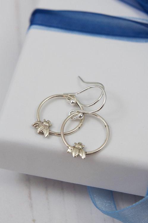 Silver Busy bee small hoop earrings