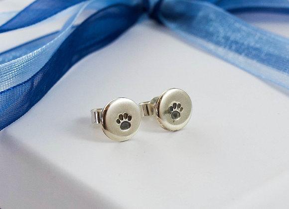 Paw print stamped stud earrings
