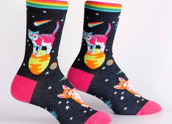 Women's Crew Space Cats Socks
