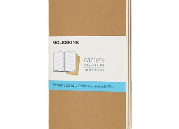 Cahier Pocket Kraft Brown Set Of 3 Dotted Journal