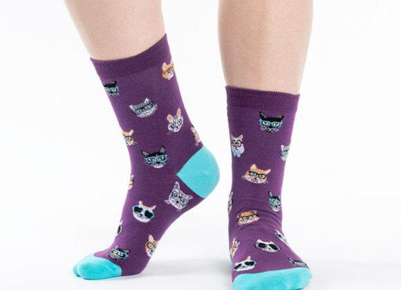 Women's Crew Socks Smarty Cats Socks