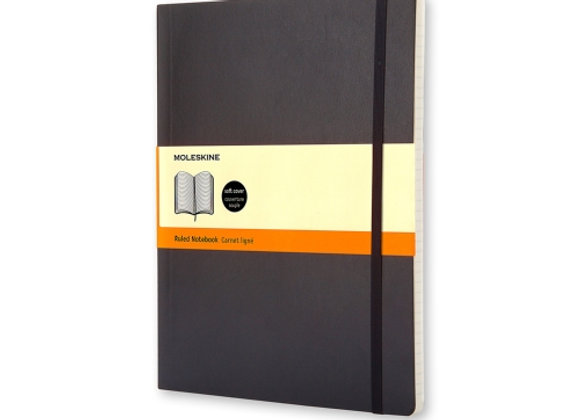 Classic XLarge Black Soft Cover Ruled Notebook