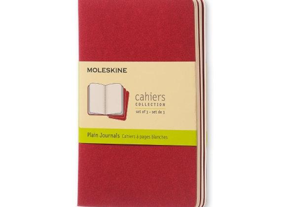 Cahier Pocket Cranberry Red Set Of 3 Plain Journals