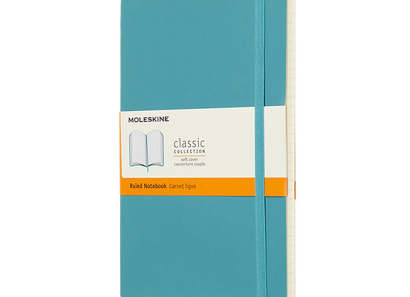Classic Large Reef Blue Hard Cover Ruled  Notebook