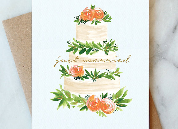 Just Married Cake Gold Foil Card