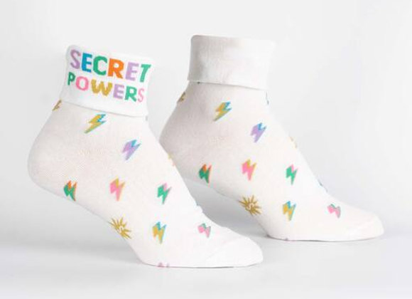Turn Cuff Crew Secret Powers Socks