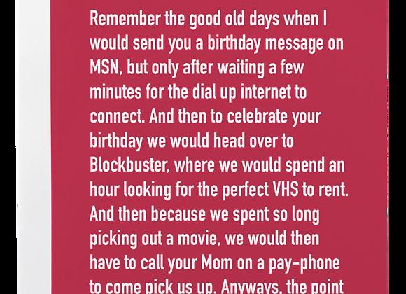 Birthday VHS Chatty Card