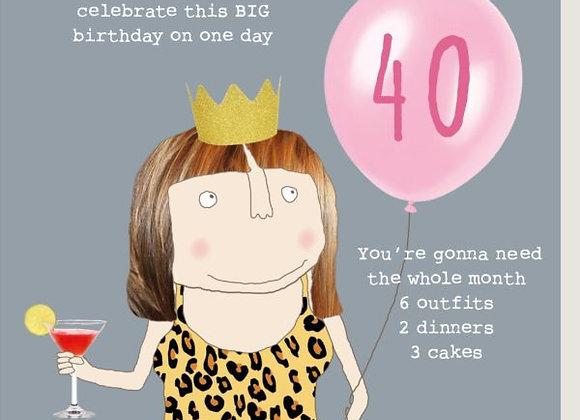40 Girl Big Birthday Card