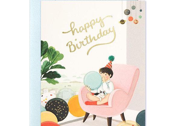 Blowing Balloons Birthday Card