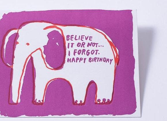 Elephante Belated Birthday Card