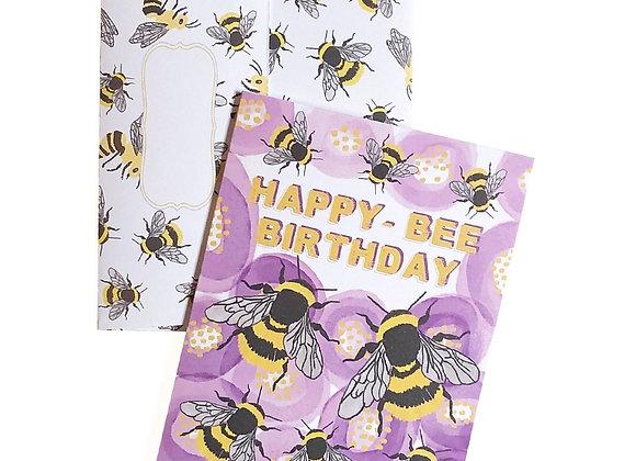 Happy-Bee Birthday Card