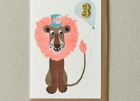Kid's Age 3 Lion Card