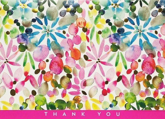 Watercolour Garden Thank You Boxed Cards