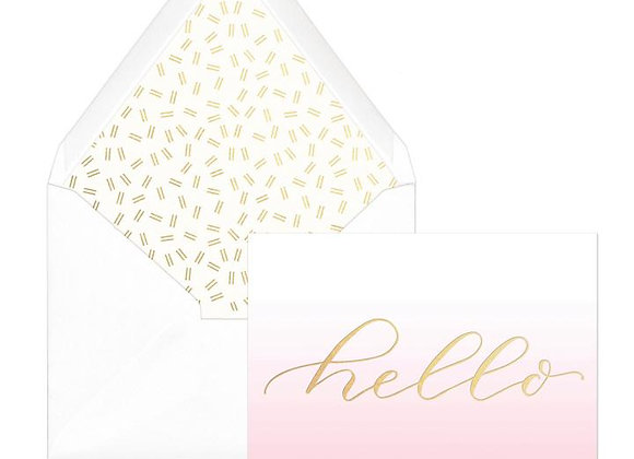 Pink Ombre Hello Blank Boxed Cards