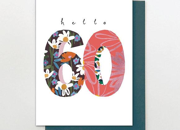 60 Hello Flower Birthday Card
