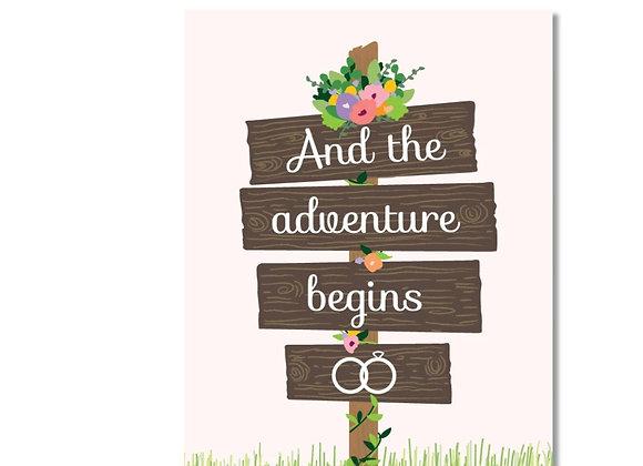 Adventure Begins Wedding Card
