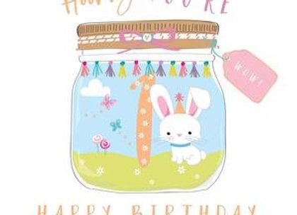 Hooray Bunny 1st Birthday Card