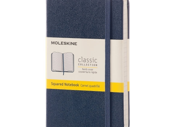 Classic Pocket Blue Hard Cover Squared Notebook