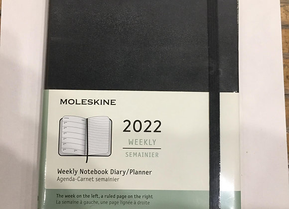 12 Months Large Weekly Notebook Black Cover Agenda