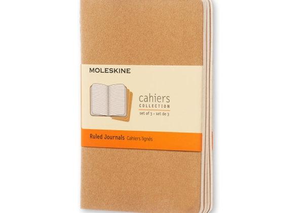 Cahier Pocket Ruled Kraft Set Of 3 Journals