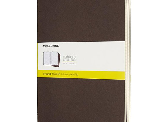 Cahier Large Coffee Brown Set Of 3 Squared Journals