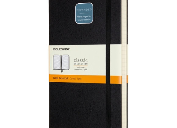 Classic Large Expanded Black Ruled Notebook