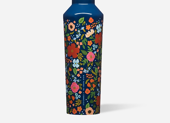 Rifle Paper Gloss Navy Wild Rose 16oz Canteen Bottle