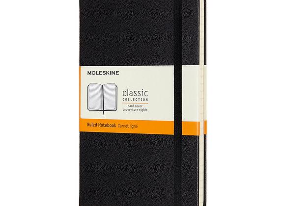 Classice Medium Hard Cover Black Ruled Notebook