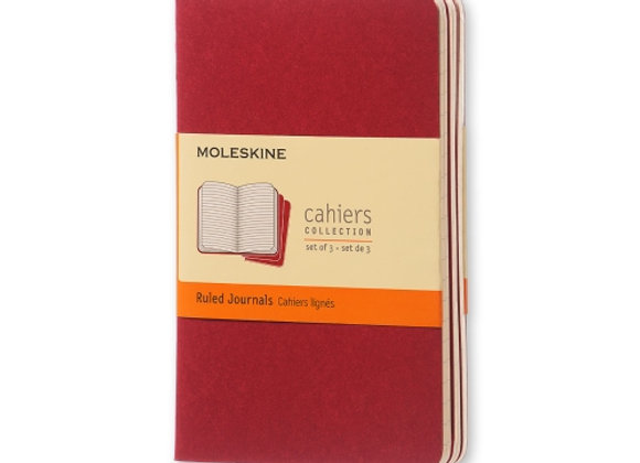 Cahier Pocket Cranberry Red Set Of 3 Ruled Journals