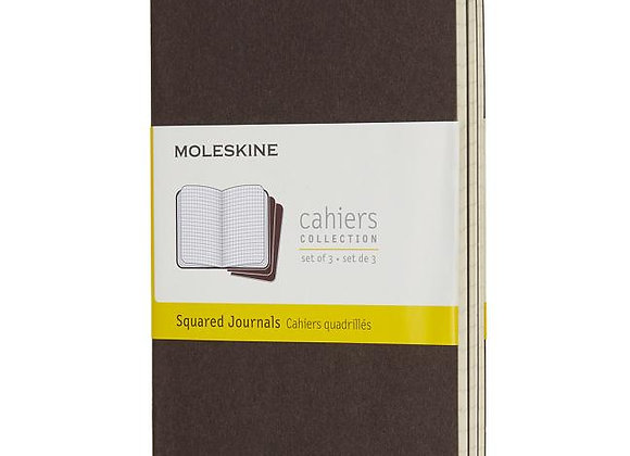 Cahier Pocket Coffee Brown Set Of 3 Square Journals